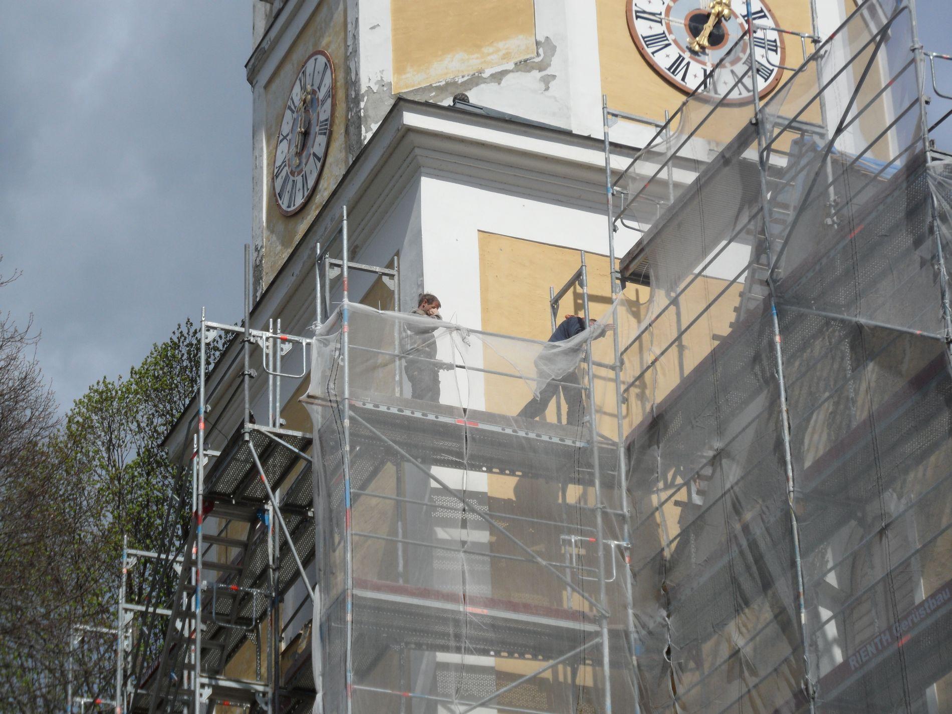 Arbeiten am Turm